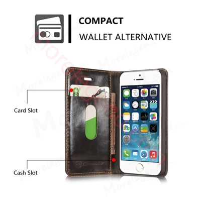 Picture of CASEME Oil Wax Leather Card Holder Case for iPhone SE 5s 5 - Brown