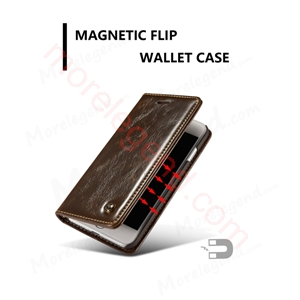 图片 CASEME Oil Wax Leather Card Holder Case for iPhone 7-Brown
