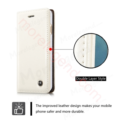 图片 CASEME Oil Wax Leather Card Holder Case for iPhone 6s Plus/6 Plus-White