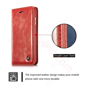Picture of CASEME Oil Wax Leather Card Holder Case for iPhone 6s Plus/6 Plus-Red