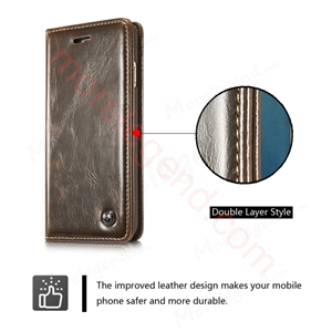 图片 CASEME Oil Wax Leather Card Holder Case for iPhone 6s Plus/6 Plus-Brown
