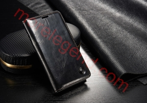 Picture of CASEME Oil Wax Leather Card Holder Case for Samsung Galaxy S5 Mini G800-Black
