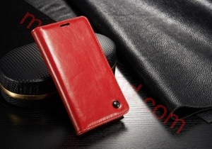 Picture of CASEME Oil Wax Leather Card Holder Case for Samsung Galaxy S5 Mini G800-Red