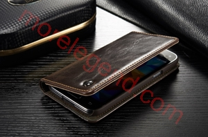 Picture of CASEME Oil Wax Leather Card Holder Case for Samsung Galaxy S5 Mini G800-Brown