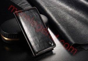 Picture of CASEME Oil Wax Leather Card Holder Case for Samsung Galaxy S4 mini-Black