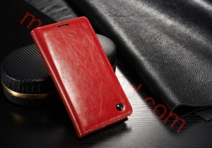 Picture of CASEME Oil Wax Leather Card Holder Case for Samsung Galaxy S4 mini-Red