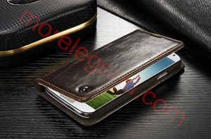 Picture of CASEME Oil Wax Leather Card Holder Case for Samsung Galaxy S4 mini-Brown