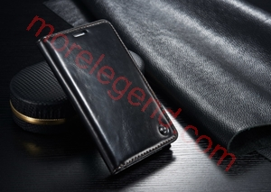 图片 CASEME Oil Wax Leather Card Holder Case for Samsung Galaxy Note Edge N915-Black