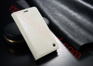 图片 CASEME Oil Wax Leather Card Holder Case for Samsung Galaxy Note Edge N915-White