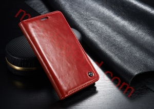 图片 CASEME Oil Wax Leather Card Holder Case for Samsung Galaxy Note Edge N915-Red