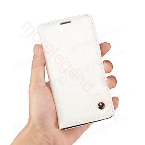 Picture of CASEME Oil Wax Leather Card Holder Case for Samsung Galaxy A3-White