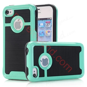 Picture of 2 In 1 Striated Metal Case With Card Slot For Iphone 4G/4S