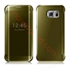 Picture of Elegant Glitter Smart Flip Case Electroplated Mirror Hard Clear Transparent Phone Case Cover for Samsung S6