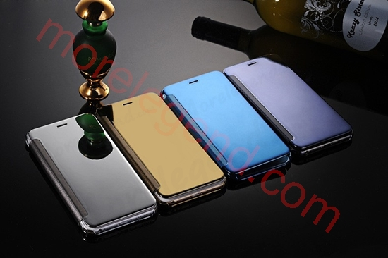 Picture of Elegant Glitter Smart Flip Case Electroplated Mirror Hard Clear Transparent Phone Case Cover for iphone 6/6s