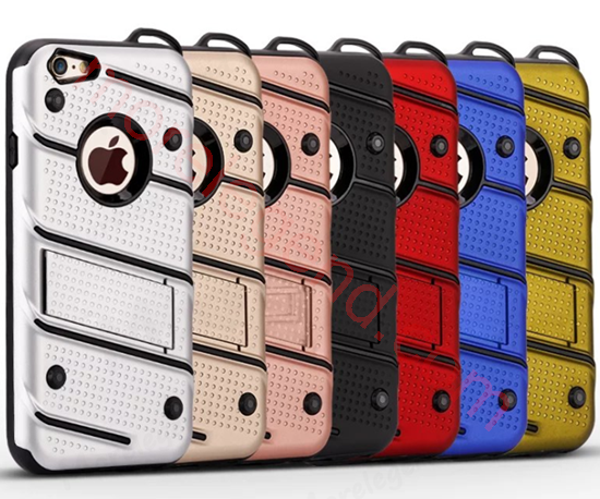 Picture of For iPhone Models 2 in 1 Hybrid Heavy Duty Hard Back Cover Stand Case with kickstand